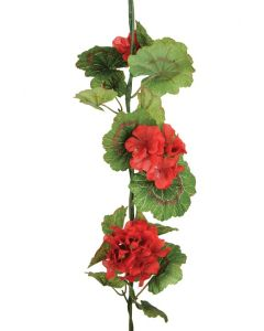Artificial red geranium garland