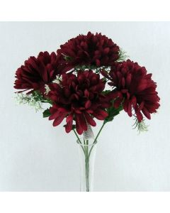 Artificial Dark Red Mum Bush