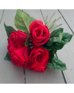 Artificial 30cm Red Roses - Bunch  of 7