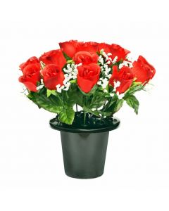 Artificial Red Rose Grave pot