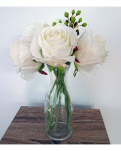 Artificial Ivory Roses and Berries in Bottle Vase