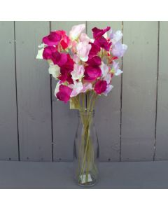 12 Artificial Sweet Peas with Vase