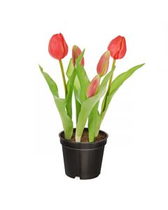 24cm Artificial Pink Tulips in Pot