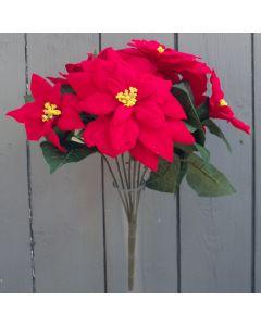 Artificial Small Red Poinsettia Bush