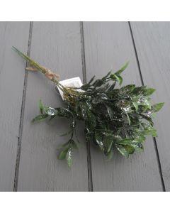 Artificial 32cm Bay Leaf Bunch - Silver Glitter