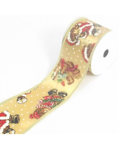 Full 10 Yard Roll of 63mm Gold Satin Christmas Bear Ribbon