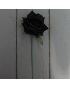 Artificial 24cm Single Black Rose
