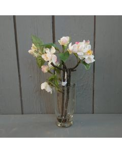 Artificial 23cm Ivory & Pink Blossom in Vase