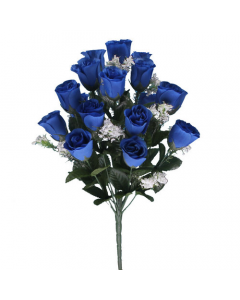 Artificial Royal Blue Rose Bush - 18 Heads