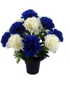 Artificial Royal Blue and Ivory Carnation Grave Pot