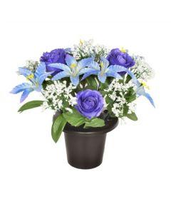 Artificial Blue Rose & Lily Grave Pot