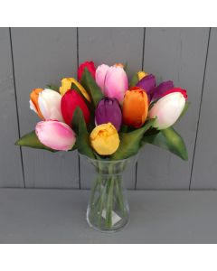 Artificial 29cm Mixed Tulips in A Glass Vase