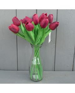 Artificial 34cm Burgundy / Dark Pink Tulips in a Glass Vase