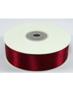 Full 25m Roll of 25mm Burgundy Red Satin Ribbon