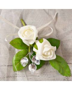 Artificial Cream Double Rose Buttonhole
