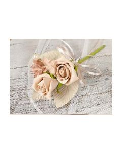Artificial Cappuccino Rose Corsage