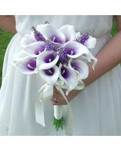 Artificial Purple Calla Lily and Lavender Bridal Bouquet