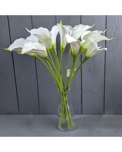 45cm Artificial Ivory Calla Lilies in a Glass Vase