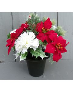 Artificial 24cm Red Poinsettia and Ivory Carnation Crem Pot
