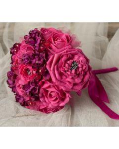 Artificial Cerise Rose Bouquet