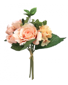 30cm Artificial Champagne Pink Rose, Hydrangea and Folliage