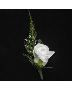 Ivory Foam Rose and Diamante Button Hole Corsarge