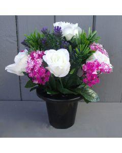 Artificial 23cm Ivory Rose, Pink Allium and Lavender Floral Memorial Grave Pot