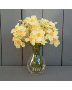 Artificial 25cm Yellow Daffodils in a Glass vase