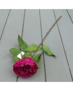 Artificial 59cm Single Dark Pink Peony