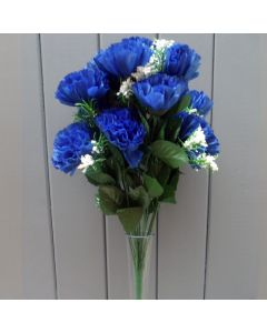 Artificial 45cm Royal Blue Carnations - 18 Heads