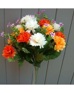 Artificial 41cm Yellow, Orange & Ivory Chrysanthemum Bush