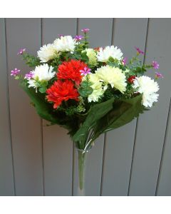 Artificial 41cm Red, Green & Ivory Chrysanthemum Bush