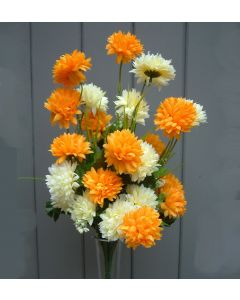 Artificial 40cm Cream & Orange Chrysanthemums Bush