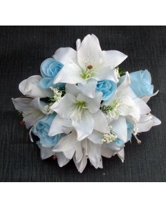 Artificial Light Blue & White Rose / Lily Bridesmaid Bouquet
