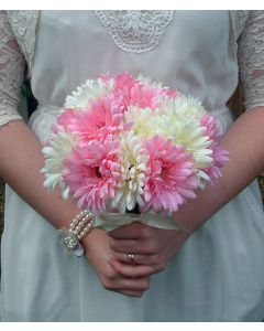 Artificial Medium Pink and White Gerbera Bouquet