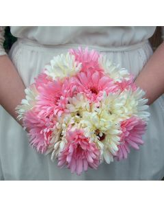 Artificial Large Pink and White Gerbera Bouquet