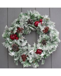 Artificial Glittered Holly, Berry and Cone Wreath