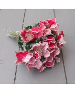 Artificial 20cm Frosted Red Christmas Rose Bunch