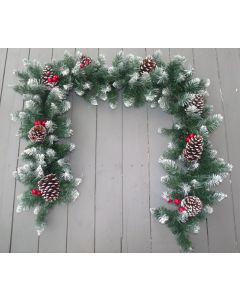 Artificial 6ft Frosted Spruce Garland with Cones and Berries