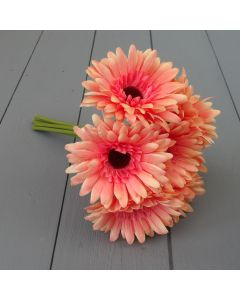 26cm Dark Peach Artificial Gerbera Bunch - 7 Stems