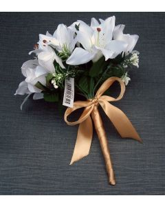 Artificial White Bridesmaid Bouquet with a Gold Satin Ribbon