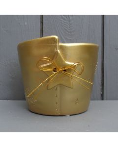 10cm Gold Ceramic Christmas Pot