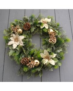 Artificial 40cm Gold Poinsettia Spruce Wreath