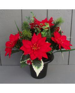 Artificial Poinsettia and Holly Grave Pot