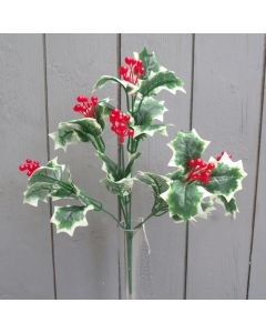 Artificial Variegated  Holly Bush with Red Berries