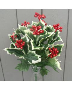 Artificial 40cm Red Berry Holly Bush