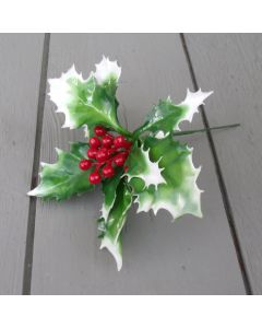 Artificial 13cm Plastic  Variegated Holly Pick