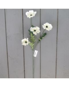 Artificial 45cm Ivory Poppy Spray