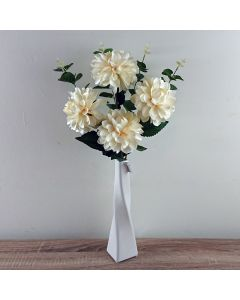 Artificial Ivory Ball Chrysanthemum and Eucalyptus with Vase