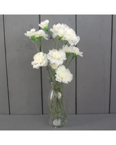 Artificial 30cm Ivory Carnations in a Glass Bottle